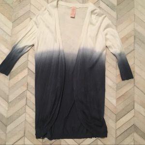 Tulle Ombré Lightweight Cardigan - Blue / White